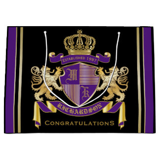 Make Your Own Coat of Arms Monogram Crown Emblem Large Gift Bag