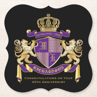 Make Your Own Coat of Arms Monogram Crown Emblem Paper Coaster