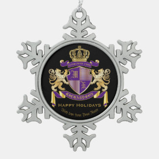 Make Your Own Coat of Arms Monogram Crown Emblem Pewter Snowflake Decoration