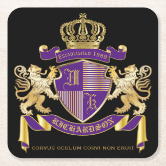 Make Your Own Coat of Arms Monogram Crown Emblem Square Paper Coaster