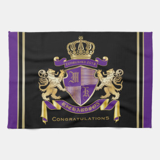 Make Your Own Coat of Arms Monogram Crown Emblem Tea Towel
