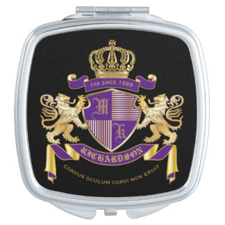 Make Your Own Coat of Arms Monogram Crown Emblem Vanity Mirror