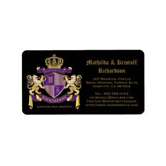 Make Your Own Coat of Arms Monogram Lion Emblem Address Label
