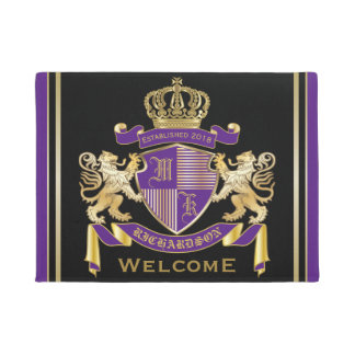 Make Your Own Coat of Arms Monogram Lion Emblem Doormat