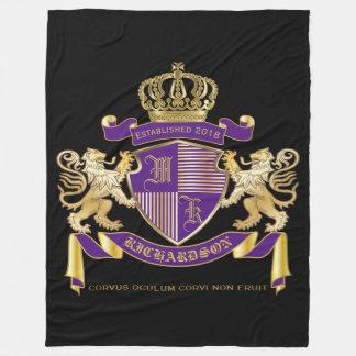 Make Your Own Coat of Arms Monogram Lion Emblem Fleece Blanket