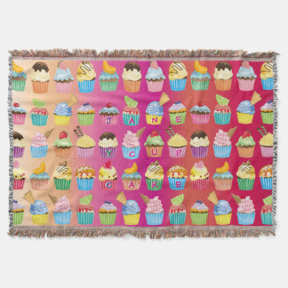 Make Your Own Cupcakes Monogram Delicious Treats Throw Blanket