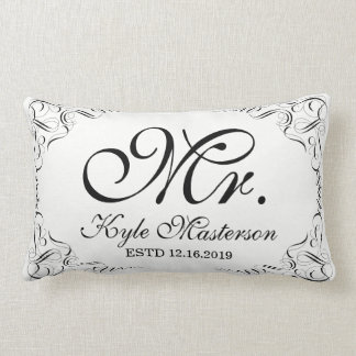 Make Your Own Elegant Graceful Wedding Monogram Lumbar Cushion