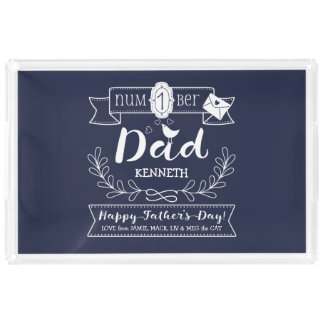 Make Your Own Father's Day No. 1 Dad Cute Monogram Acrylic Tray