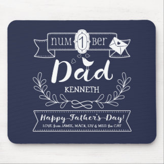 Make Your Own Father's Day No. 1 Dad Cute Monogram Mouse Mat