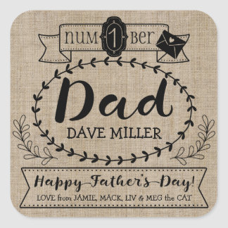 Make Your Own Father's Day Number 1 Dad Monogram Square Sticker