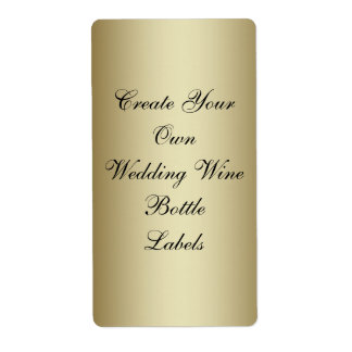 Make Your Own Gold Black Wedding Wine Bottle Shipping Label