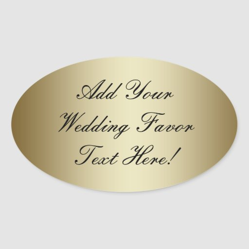 make your own gold wedding favour oval sticker zazzle