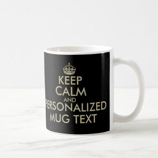 Make your own Keep calm coffee mug | faux gold