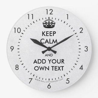 Make Your Own Keep Calm Product Black White Large Clock