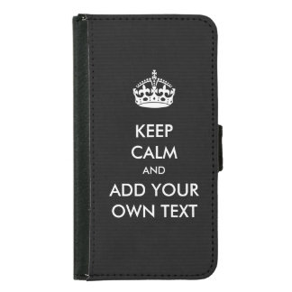Make Your Own Keep Calm Product Black White Samsung Galaxy S5 Wallet Case