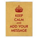 Make Your Own Keep Calm Red on Kraft Paper Card