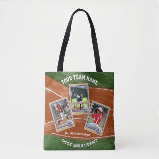 Make Your Own Kids Baseball Cards Sports Collage Tote Bag