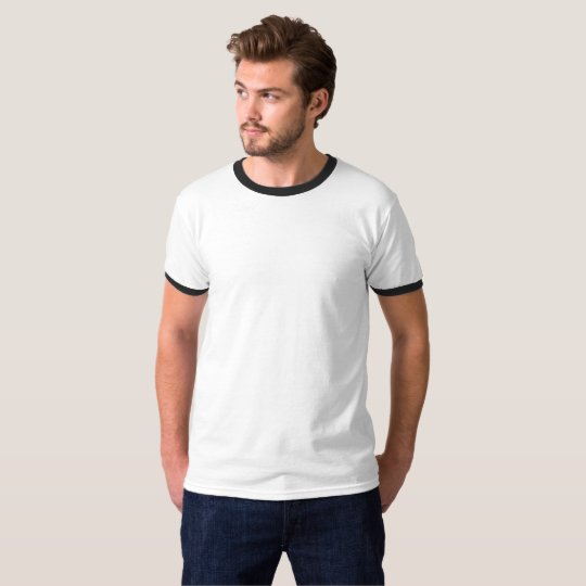 Men's Basic Ringer T-Shirt, White/Black