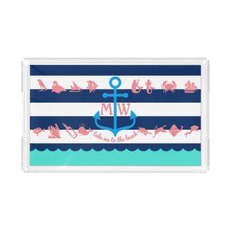 Make Your Own Nautical Summer Fun Anchor Stripes Acrylic Tray