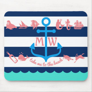 Make Your Own Nautical Summer Fun Anchor Stripes Mouse Mat