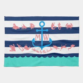 Make Your Own Nautical Summer Fun Anchor Stripes Tea Towel