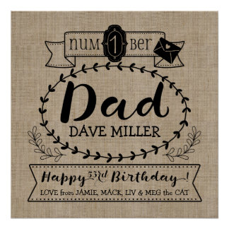 Make Your Own No. 1 Dad Birthday Cute Monogram Poster
