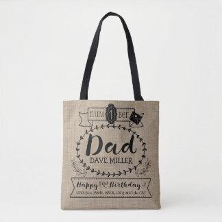 Make Your Own No. 1 Dad Birthday Cute Monogram Tote Bag