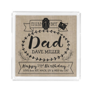 Make Your Own Number 1 Dad Birthday Cute Monogram Acrylic Tray