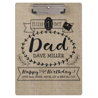 Make Your Own Number 1 Dad Birthday Cute Monogram Clipboard