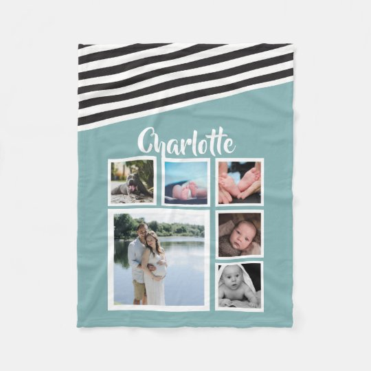 Make Your Own Personalised Teal Striped Unique Fleece Blanket