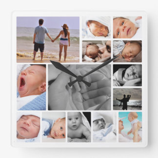 Make Your Own Photo Collage Template Square Wall Clock