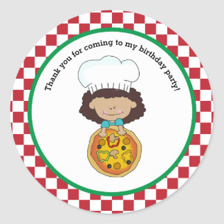 Make Your Own Pizza Party Girl Thank You Favor Round Sticker