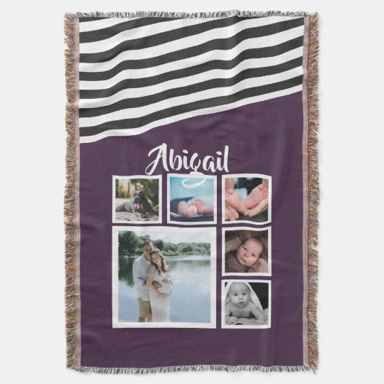 Make Your Own Purple Striped Unique Personalised Throw Blanket
