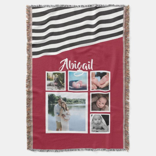 Make Your Own Red Striped Unique Personalised Throw Blanket