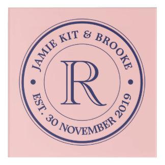 Make Your Own Rose Quartz Pink Logo Monogram Acrylic Print
