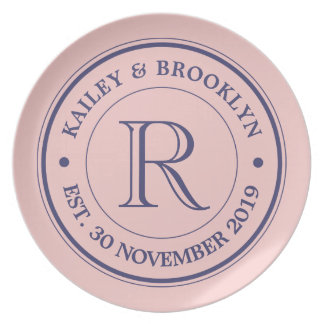 Make Your Own Rose Quartz Pink Logo Monogram Dinner Plate