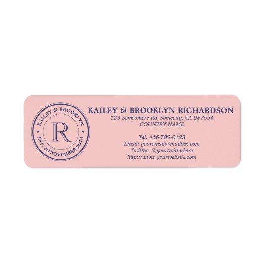 Make Your Own Rose Quartz Pink Logo Monogram Return Address Label