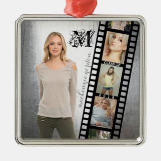 Make Your Own Senior Portrait Retro Film Negative Silver-Colored Square Decoration