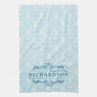 Make Your Own Sky Blue Damask Anniversary Monogram Tea Towel