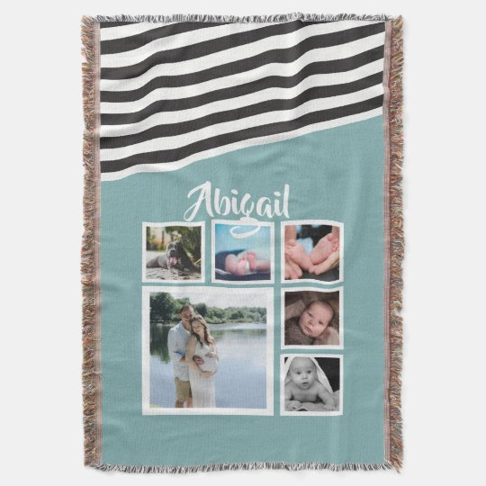Make Your Own Teal Striped Unique Personalised Throw Blanket