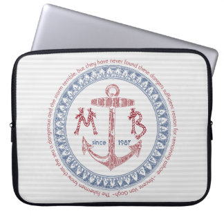 Make Your Own Vintage Anchor Nautical Monogram Laptop Sleeve