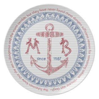 Make Your Own Vintage Anchor Nautical Monogram Party Plates