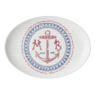 Make Your Own Vintage Anchor Nautical Monogram Porcelain Serving Platter