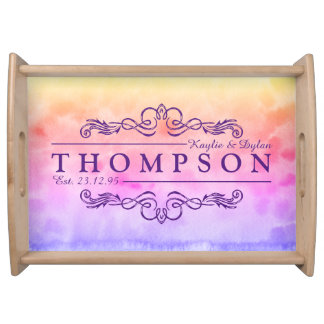 Make Your Own Wedding Anniversary Watercolor Monog Serving Tray