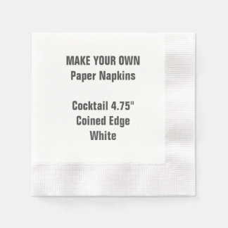 Make Your Own WHITE Coined Cocktail Paper Napkins