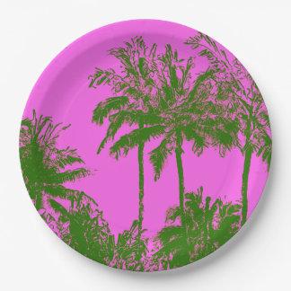 Makena Beach Hawaiian Sketchy Palms Paper Plate