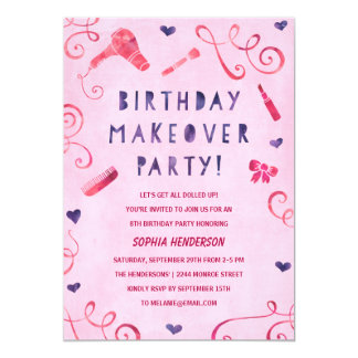 Makeover Party | Pink & Purple Girls Birthday Card