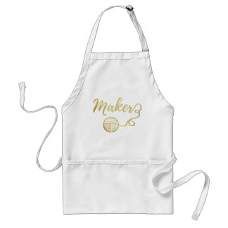Maker Crafts Typography Print Faux Gold Standard Apron