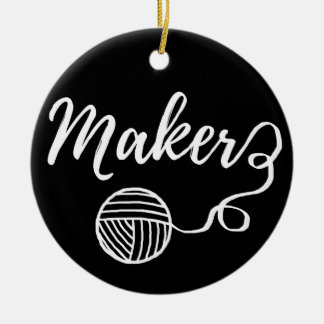 Maker Crafts & Yarn Typography Print Christmas Ornament