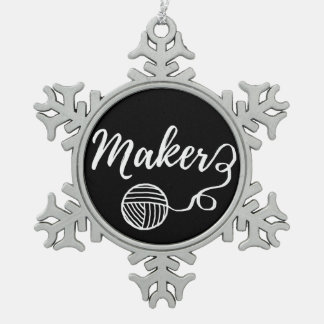 Maker Crafts & Yarn Typography Print Snowflake Pewter Christmas Ornament